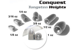 Tungsten Bullet weights, Conquistador Tackle, Bass Fishing Lures